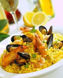 Dish of Paella with Prawns and Mussels