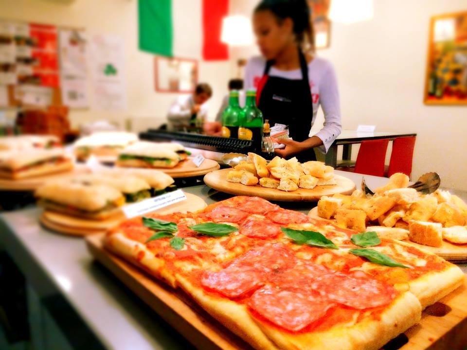 focaccia, pizza and sandwiches