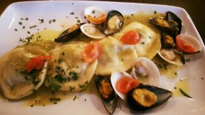 ravioli with sea bass