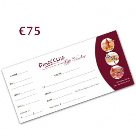 PINOCCHIO RESTAURANT GIFT VOUCHER 75€