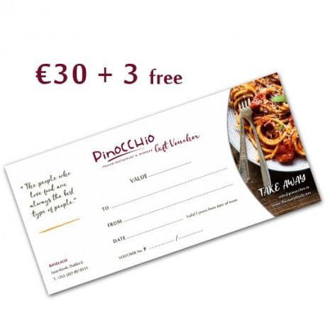 PINOCCHIO TAKE AWAY GIFT VOUCHER 30€
